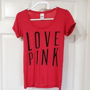 PINK VICTORIA SECRET | Red scoop neck tee size xs